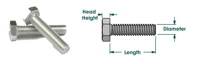 304 Stainless Steel Fasteners Dimension