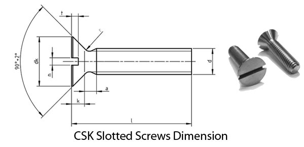 CSK Slotted Screws Dimension