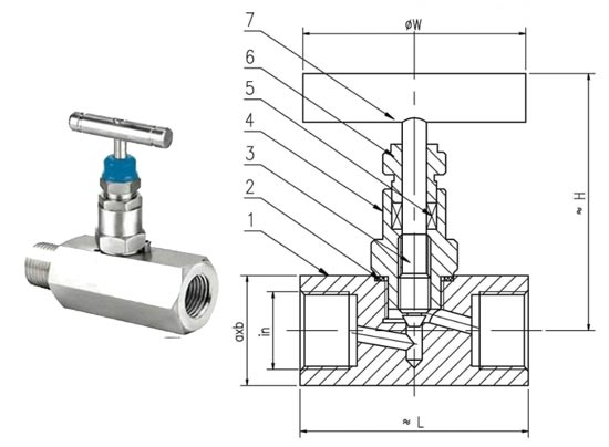 Stainless Steel Needle Valve Dimension